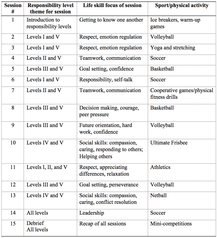Table 1 - Overview of SFD program curriculum