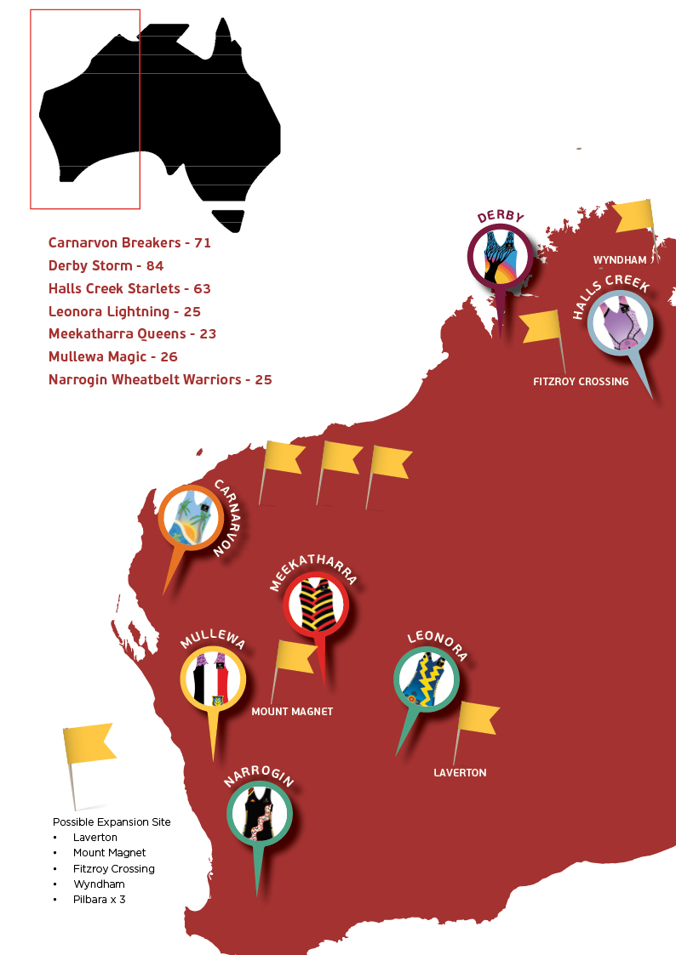 Figure 1 - Map of Western Australia with Shooting Stars sites and approximate participant numbers at time of writing, with inset of Australia