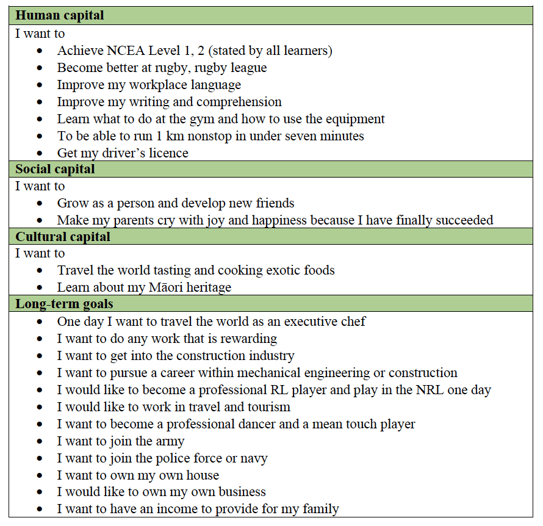 Table 3 - Examples of capitals contributions shared in Feats learners' goal-setting plans